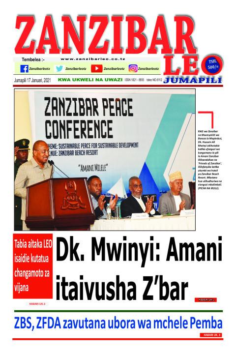 Dk. Mwinyi: Amani itaivusha Z'bar | ZANZIBAR LEO