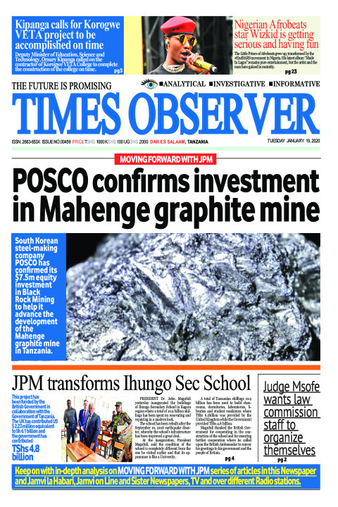 POSCO confirms investment in Mahenge graphite mine | Times Observer