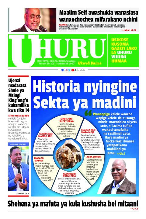 Historia nyingine Sekta ya madini   Uhuru
