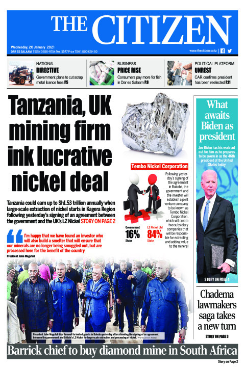 TANZANIA, UK MINING FIRM INK LUCRATIVE NICKEL DEAL