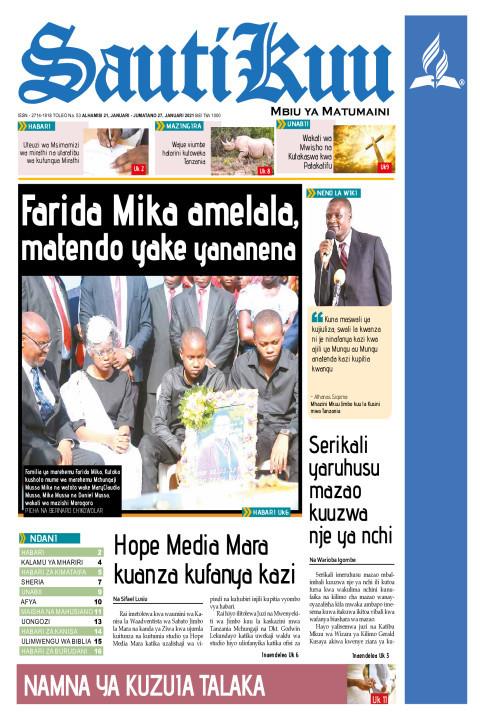 Farida Mika amelala,Matendo yananena | Sauti Kuu Newspaper