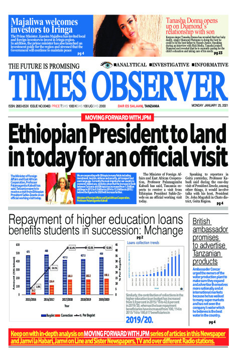Ethiopian President to land in today for an official visit | Times Observer