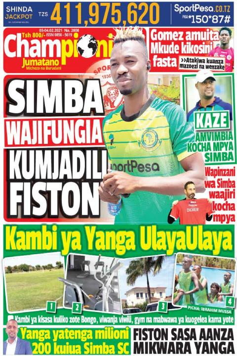 SIMBA WAJIFUNGIA KUMJADILI FISTON | Champion Jumatano
