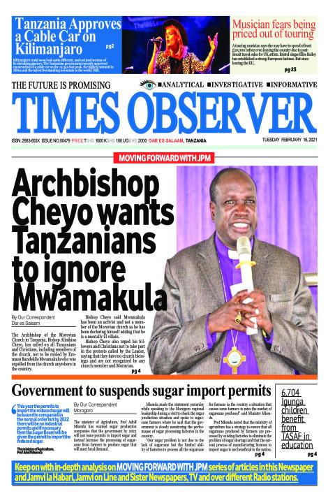 Archbishop Cheyo wants Tanzanians to ignore Emmous Mwamakula | Times Observer
