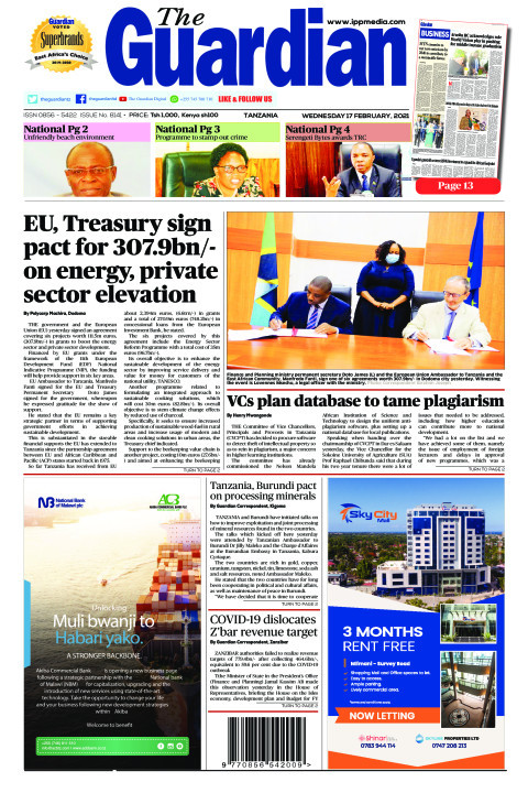 EU, Treasury sign pact for 307.9bn/- on energy, private sect | The Guardian