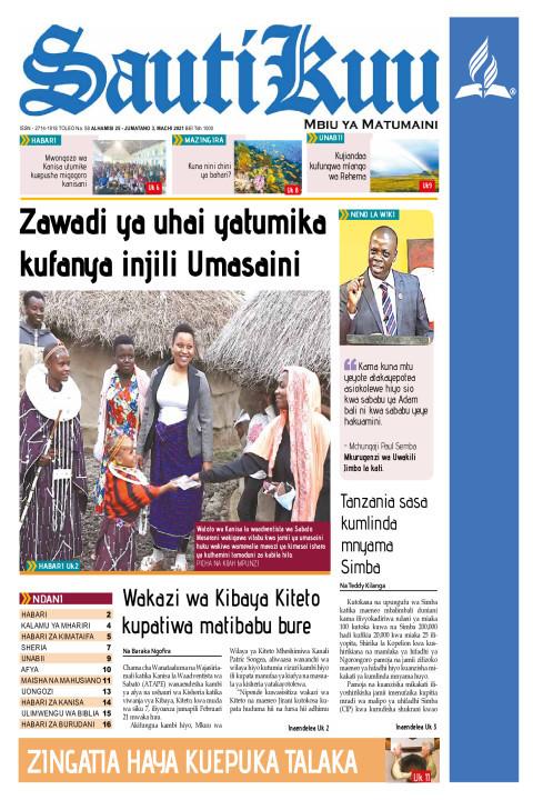 Zawadi ya uhai yatumika kufanya injili umasaini | Sauti Kuu Newspaper