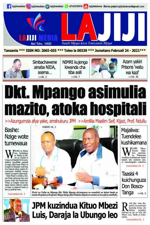 Dkt. Mpango asimulia mazito, atoka hospitali  | LaJiji