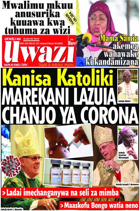 Kanisa Katoliki  MAREKANI LAZUA CHANJO YA CORONA | Uwazi