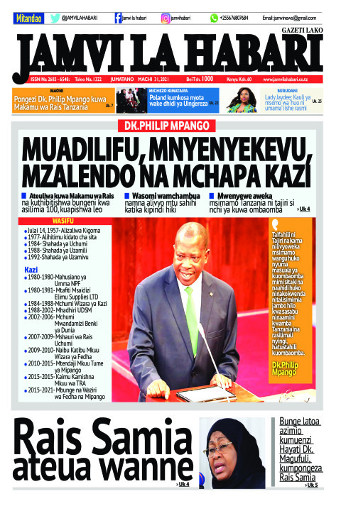 MUADILIFU, MNYENYEKEVU, MZALENDO NA MCHAPA KAZI | Jamvi La Habari
