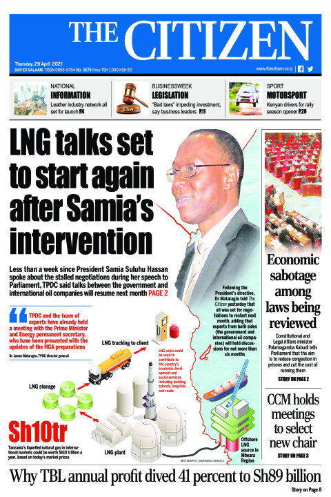 LNG TALKS SET TO START AGAIN AFTER SAMIA'S INTERVENTION   | The Citizen