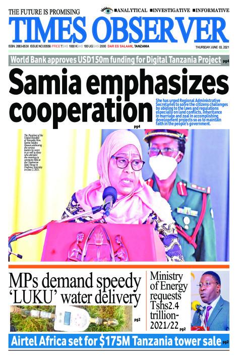 Samia emphasizes cooperation | Times Observer