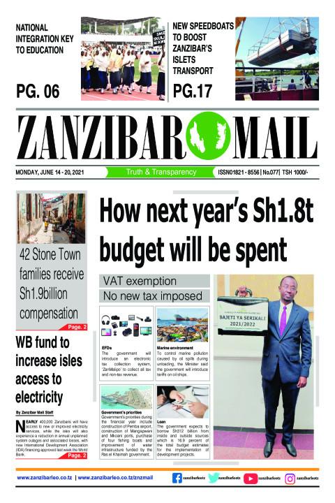 How next year's Sh1.8t budget will be spent | ZANZIBAR MAIL