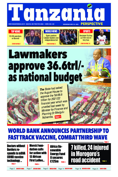 Lawmakers approve 36.6trl/- as national budget | Tanzania Perspective