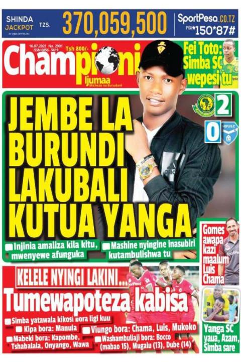 JEMBE LA BURUNDI LAKUBALI KUTUA YANGA | Champion Jumatano