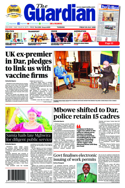 UK ex-premier in Dar, pledges to link us with vaccine firms | The Guardian