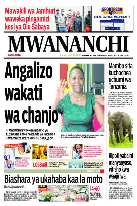 ANGALIZO WAKATI WA CHANJO    Mwananchi