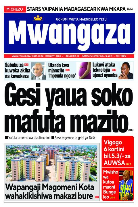Gesi yaua soko mafuta mazito | Mwangaza