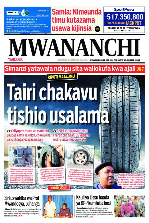 TAIRI CHAKAVU TISHIO USALAMA  | Mwananchi