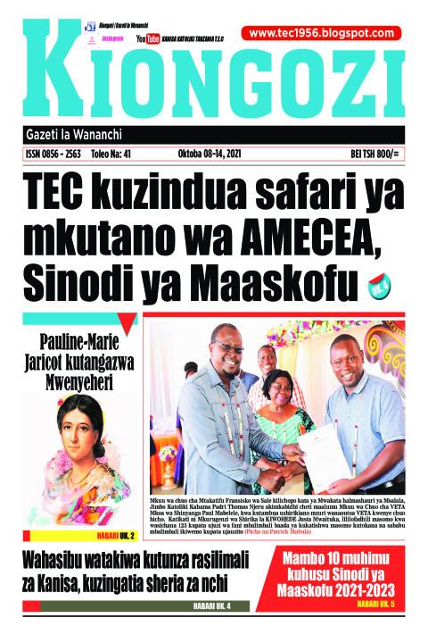 TEC kuzindua safari ya mkutano wa AMECEA, Sinodi ya Maaskofu | Kiongozi