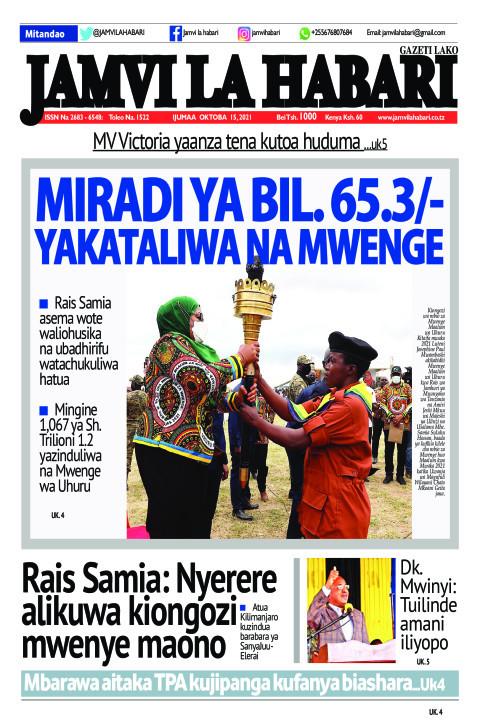 MIRADI YA BIL. 65.3/- YAKATALIWA NA MWENGE | Jamvi La Habari